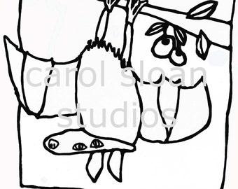 thermofax Screen Fruit Bat Kid Drawn