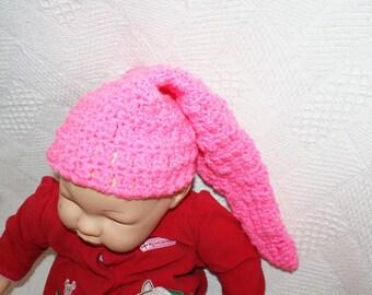 Pink Pixie Hat, Crochet Elf Beanie, Infant Gnome Hat, Stocking Cap, Baby Pixie Hat, Infant Beanie, Photo Prop Hat, Crochet Baby Hat