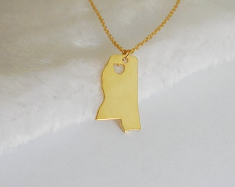Mississippi Necklace,Mississippi State Necklace Gold,MS Charm State Necklace, MS State Pendant Jewelry,Mississippi Jewelry  With A Heart