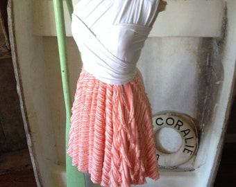 Sailor's Valentine Peach Stripe Ruffle Octopus Infinity Convertible Wrap Dress- Bridesmaids
