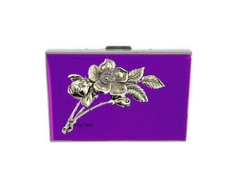 Art Nouveau Flowers Embellished RFID Metal Wallet with Card Organizer Inlaid in Hand Painted Enamel with Color and Personalized Options