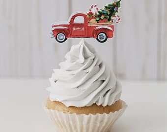 Red truck cupcake topper, Holiday cupcake topper, Christmas cupcake topper, Christmas decor, Holiday decoration, Christmas in July