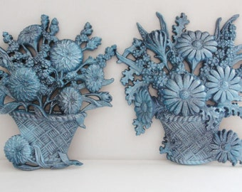 Blue Ombre Glitter Flower Basket Wall Hangings Set of 2 Upcycled Vintage