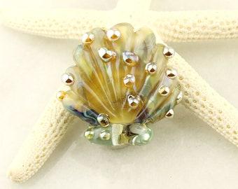 Glass Seashell Bead,  Lampwork Focal,  Scallop Shell, Blue, Green, Gold,  Ocean Beach