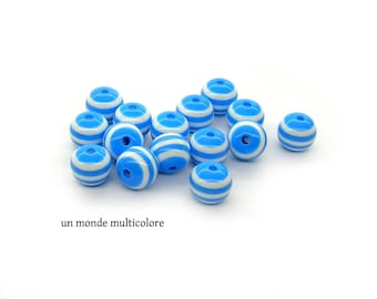 Acrylic striped blue and white 10 mm 10 beads