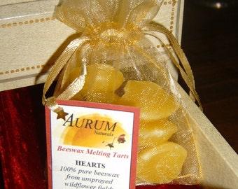 Natural Handmade 100% Beeswax Melting Tarts - hearts