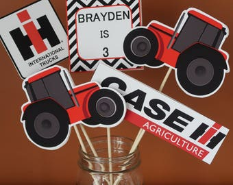 Red Tractor / Case IH Theme - Centerpiece Skewers - Red Tractor, Red and Black - Birthday Centerpieces