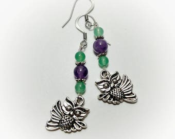 Amethyst and Aventurine Owl Earrings, Purple and Green Owl Earrings, Cute Owl Jewelry, Owl Gift, Gemstone Owl Earrings, Silver Owl Jewelry