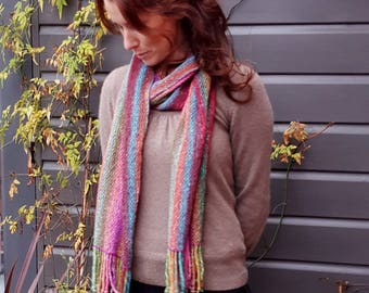 Hand Woven Striped Scarf in Lambs Wool, Kid Mohair and Silk - Bright Rainbow shades