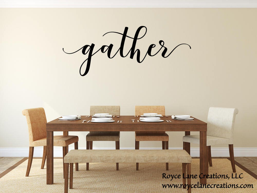 Gather Wall Decal/ Gather Decal/Gather Wall Decor/Gather Decor/Dining Room Decal/Kitchen Decal/Dining Room Decor/Thanksgiving Decal & Gather Wall Decal/ Gather Decal/Gather Wall Decor/Gather Decor ...