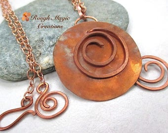 Large Pendant Disc, Antiqued Copper, Boho Gift, Unisex Womens Mens Jewelry, Optional Chain or Leather, Rustic Primitive Hammered Metal N321