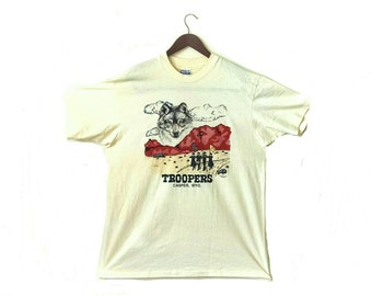 Vintage 1980s Casper Wyoming Troopers Drum and Bugle Corps thin wolf t-shirt