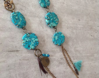 TURQUOISE STONE & LEATHER necklace with polymer clay