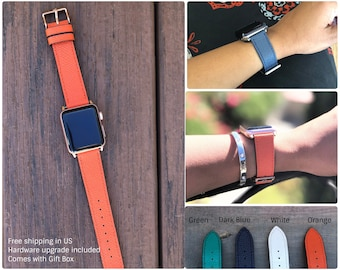 Apple Watch Band 38mm, Leather Apple watch band 42mm, Apple Watch Strap White, iWatch Strap Orange, Blue iWatch Band, Green iWatch Strap
