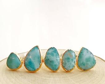 Larimar Gold Ring // Larimar Ring // Larimar Gold Ring // Larimar Gold plated ring