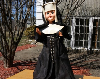 Vintage 1960s Catholic NUN DOLL with Habit Rosary and Blinking Eyes Religious Christian Spiritual