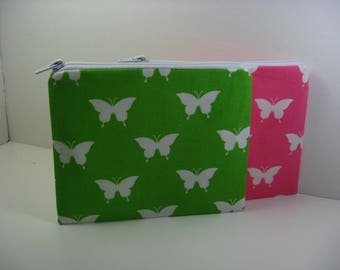 Personalized Cosmetic Bag, Bridesmaid Gift,  Shower Gifts, Zipper Pouch, Coin Purses, Clutch, Butterflies