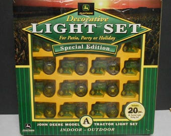 John Deere Tractor 20 pc.Christmas Tree Lights Patio Party or Holiday Light Decorations Set