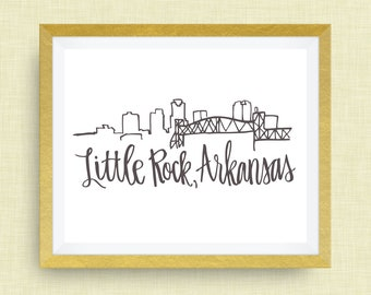 Little Rock Skyline Art Print - Little Rock, AR Print, Home Art, Housewarming  Gift, Arkansas Art, Skyline Art, CR2F 1