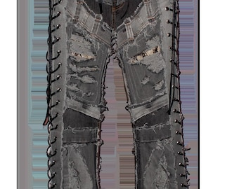 Gray denim on a pair of vintage faded Black jeans with snake skin