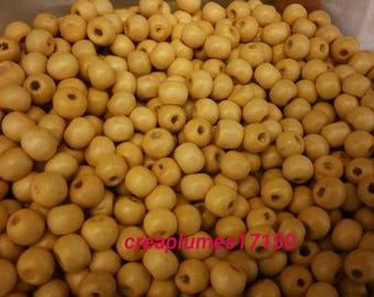 Set of 50 beads round 8mm beige