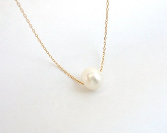 Single freshwater pearl necklace, Gold filled or Sterling silver chain, Simple bridal necklace, Valentines day jewelry