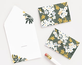 Blossom Little Notes, Illustrated Floral Mini Notecards and Gift Notes