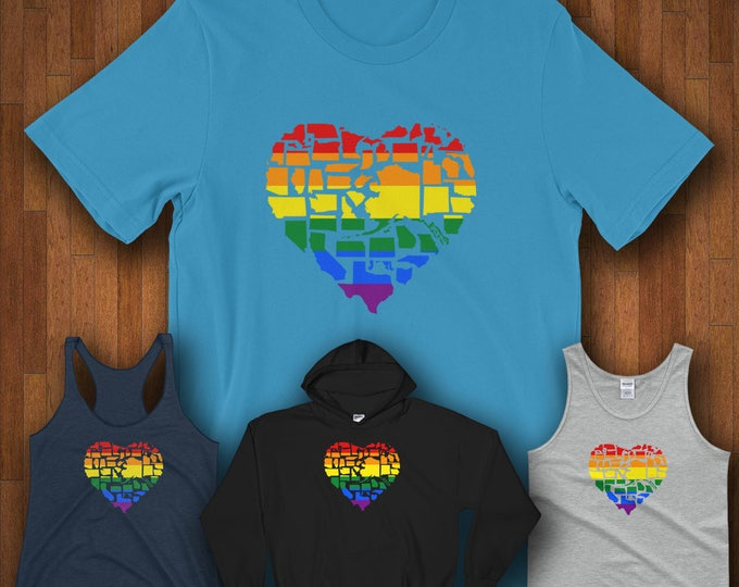 Featured listing image: Gay Pride Shirt LGBT Pride Shirt Love Not Hate - Gay Pride in All 50 States Gay Pride Shirts Queer Pride Bisexual Pride Gay Pride Flag Shirt