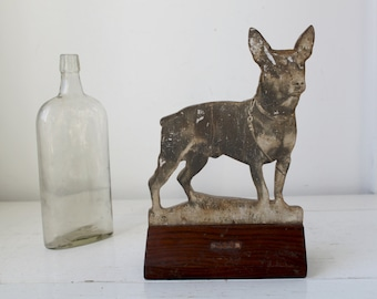vintage 1930s handmade dog statue. photo decoupage on wood. manchester terrier. art deco folk art