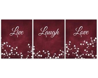 Live Laugh Love, Modern Home Decor, Home Decor CANVAS, Burgundy Living Room  Decor