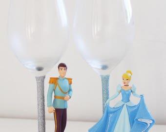 Disney glass Cinderella and Prince Charming