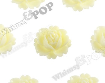 Yellow Ivory Peony Flower Cabochons, Flower Cabs, Vintage Peony, Orchid Cabochons, 18mm x 16mm (R3-026)