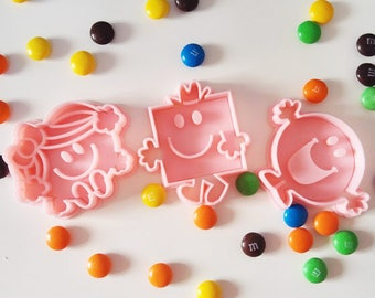 Set of 3, Mr Happy, Little Miss Sunshine and Mr Strong cookie cutters, 3D printing cookie cutter, mr men and little miss collection