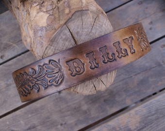 Leather Dog Collar ( Personalized Collar ~ Western Dog Collar  ~ Tooled Leather Dog Collar ~ 1950s name on belt Dog Collar ) made in the USA