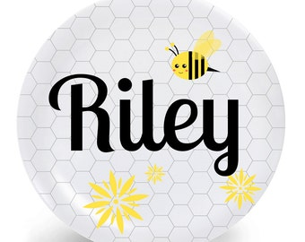 Bee Plate - Child's Plate - Child's Bowl - Bee and Honeycomb Melamine Bowl or Plate Personalized with Name