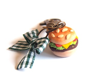 Hamburger Charm Zipper Pull Charm (food charm hamburger miniature food fast food miniature hamburger food keyring gift for ger brass charm )