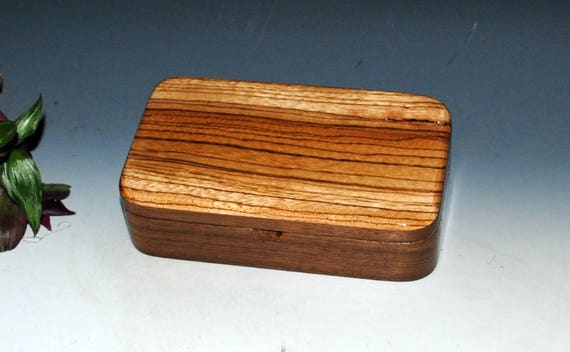 Wood Box Wooden Box of Zebrawood on Walnut Small Jewelry