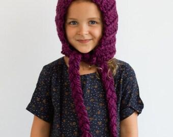 Kid's Cozy Pixie Hat in Berry