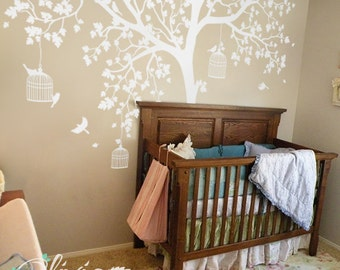 White tree decal Huge Tree wall decal Wall Art Tattoo Wall Mural Stickers Wall Decals Decor - NT012 & White Tree Wall Decal Huge Tree wall decal Wall Mural Stickers