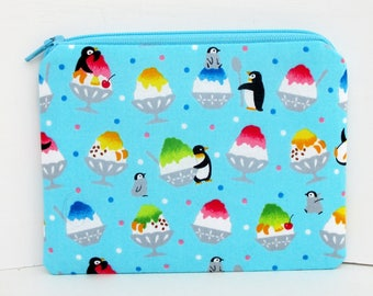 Penguins and Shave Ice, Small Coin Purse Zipper Pouch, Turquoise Bag