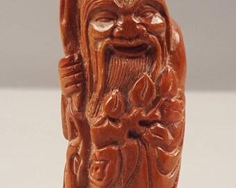 Vintage Carved Antler Chinese Figure Figurine Statue Shoulao Shou Lao God of Longevity Child Gourd  Fukurokuju Lucky Star God Feng Shui
