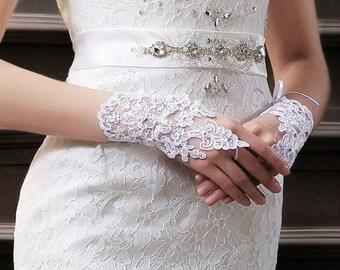 White Bridal Lace Wedding Gloves,Bridal Fingerless Lace Wedding Gloves,Bridal Accessories