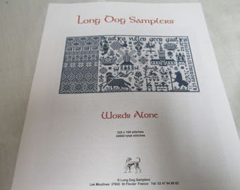 Long Dog Samplers Words Alone  Counted Cross Stitch Design  Instructions / Chart