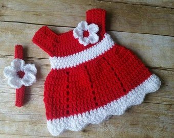 SALE! Crochet Baby Dress, Take Home Baby Dress, Baby Gift, Infant Dresses, Crochet Newborn Dress, Photo Prop Dress, Infant Red Baby Dress