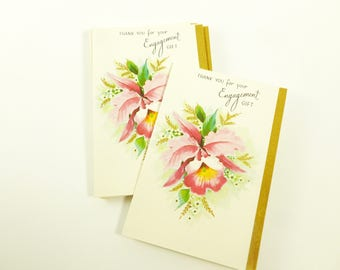 Engagement Gift Thank You Notes Lot of 10 Unused Mid Century Greeting Cards Pink Orchid with Gold Trim