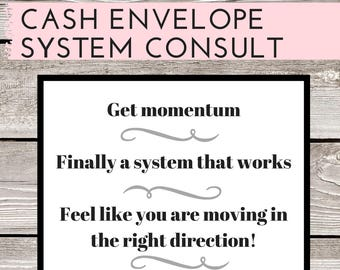 CONSULT to get your PERSONAL Cash Envelope System started: Budget, Custom Financial Plan, Cash Budget, Manage your Money, Organize Finances
