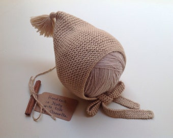 100% cashmere Baby kid Pixie hat, baby Bonnet, pom pom, knitting, from 3 months to 4 years to order