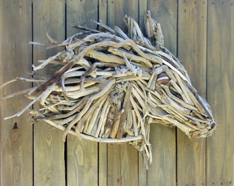 Horse Sculpture in Driftwood Mounted on Barnwood Background