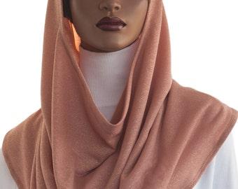 Koul SHôl Head Hoodie™ Head Hoodie Cowl Head Hoodie Veil Soft Peach Shimmer Jersey Knit New Style Hoodie Veil Hijab Accessory Handmade