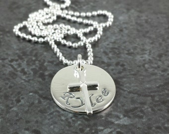 Personalized Hand Stamped Necklace with Silver Cross Charm - First Communion - Christening - Baptism - Confirmation Gift